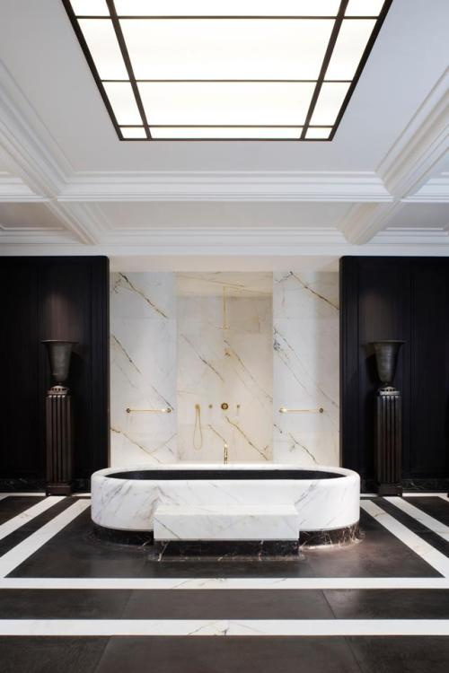 architizer:  theparticipationagency:  Louis Vuitton bathroom by JOSEPH DIRAND, photographed by ADRIEN DIRAND  The most ceremonial bathroom in the world.