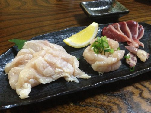 Please don't try this at home!  Pictured: - sashimi chicken breast - sashimi chicken thigh - sashimi chicken heart - sashimi chicken gizzard  A Japanese friend took me to a chicken restaurant - all they served was chicken, so you know they know how to handle chicken sashimi. Definitely worth a try. I actually liked it better than some of the fish sashimi that I've had back in the states.