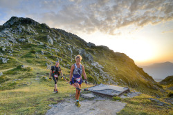Runners take in the splendid sunset views from Pas de la Coche at the French ultra Echappée Belle. Photo: Benjamin Orgogozo