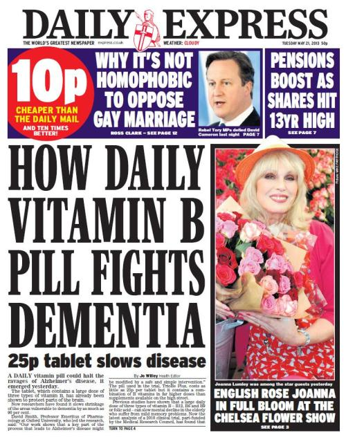 "21st May 2013: Dementia is back! The daily vitamin B pill that halts the ravages of dementia: A daily vitamin pill could halt the ravages of Alzheimer's disease, it emerged yesterday.It ""could"" halt the ravages. Right…David Smith, Professor Emeritus of Pharmacology at Oxford University, who led the research, said: ""Our work shows that a key part of the process that leads to Alzheimer's disease might be modified by a safe and simple intervention.""So far so good… The team found that in the 77 participants with high homocysteine levels, B vitamins, particularly B12, lowered them. This then slowed the shrinkage of the specific brain regions leading to less cognitive decline. An earlier report from the trial showed that B vitamin treatment could slow total brain shrinkage by up to 50 per cent. But this new report, published in Proceedings of the National Academy of Sciences, shows that the beneficial effect is largely in the Alzheimer's-vulnerable areas of the brain.What about the Obligatory Relevant Person Quote?Dr Eric Karran, Director of Research at Alzheimer's Research UK, said: ""It is too early to know whether these effects mean someone is less likely to develop dementia in the long term.  It is also not clear from other research whether B vitamins would have any benefit for those who already have dementia. Until further trials have confirmed these findings, we would recommend people think about eating a healthy and balanced diet. Controlling weight and blood pressure, as well as taking exercise, are also ways that we can help to keep our brains healthy as we get older."" Sensible man."