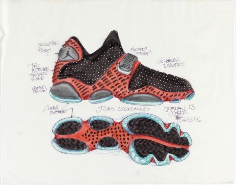 """When I started designing shoes in late 1985, athletic shoes were just basic performance footwear. There was no romance, no tying in with athletic personalities, no design inspiration from outside. They were just done for sports. Then Nike came on the scene."" - Tinker Hatfield A fascinating little history of the Air Jordan at the Cooper-Hewitt's Object of the Day blog. (Above: Hatfield's original design for the Air Jordan XIII)"