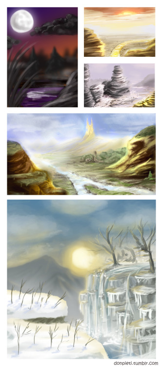 I've been practising drawing landscapes lately and here you can see what I did so far. They're organized from old to the newer ones on the bottom but all from last few weeks. It's really tough for me to understand how landscapes work and how to make them believable and interesting. I'm also having lots of trouble with the textures of different materials. Of course: so far all of these pictures are somewhat quickly done and very rough, but I think it should do well for a start and for understanding the basics. :) It's facinating how important the light and the colours are in those images to create a good atmosphere and I think I have a long path to go through to learn how to create a good landscape image. But it's also very exciting to learn something new. :)