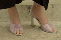 Street Style Detail, 3.1 Phillip Lim D'Orsay heels feature clear vinyl at the upper. Open toe and buckled ankle strap. Mirrored, leather-covered heel. Leather sole. Paris, June/2012