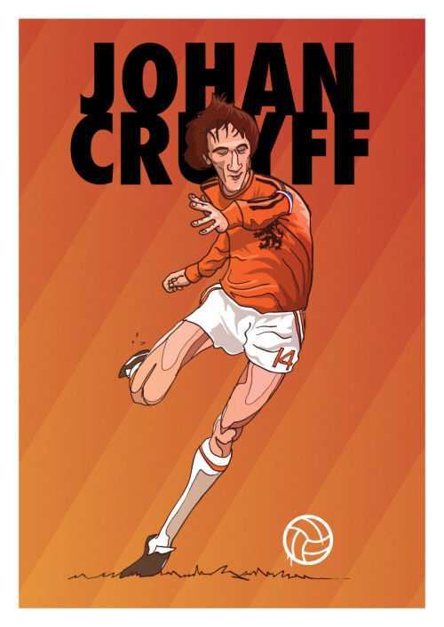 danleydon:  Johan Cruyff Here's the inventor of the Cruyff Turn and godfather to Barcelona Football Club. Hope you enjoy :) Shop / Twitter