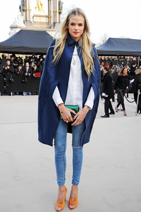 rose-royalty:  Gabriella Wilde outside Burberry Prorsum A/W 2013.