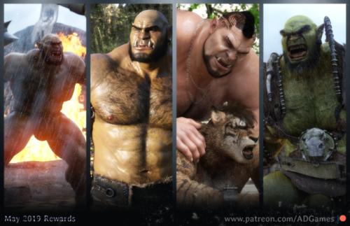 A month full of testosteroneMay is a month rich in testosterone, but you only have a few hours left to have a chance to enjoy it :3—————-Support my work on Patreon |Follow my work on Twitter #3d work#patreon#ad games#orc#tiger#gorzak#zog#muscles#hairy