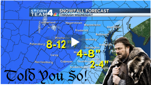 bookish:  Sorry DC/Maryland/Virginia but WINTER IS COMING!  Don't leave me in charge of things.