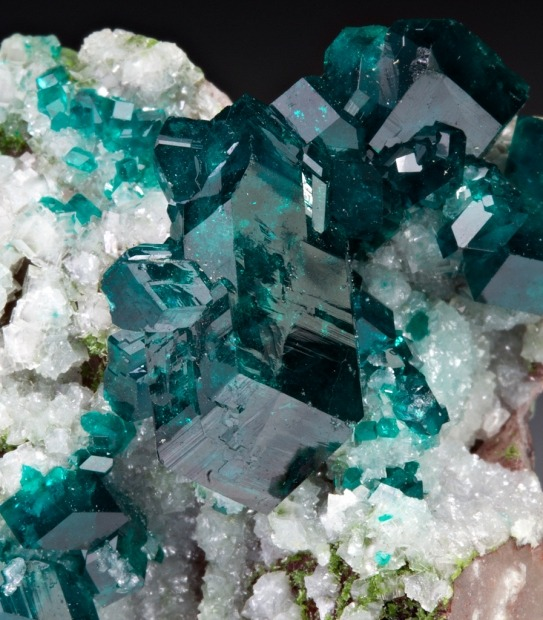 mineralia:  Dioptase with Dolomite from Namibia by Dan Weinrich