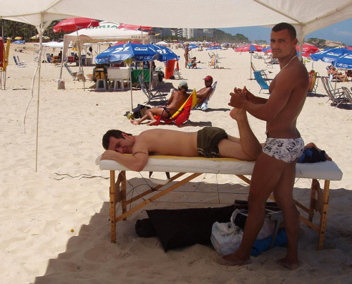 Massage on Ipanema by chelseafb on Flickr.