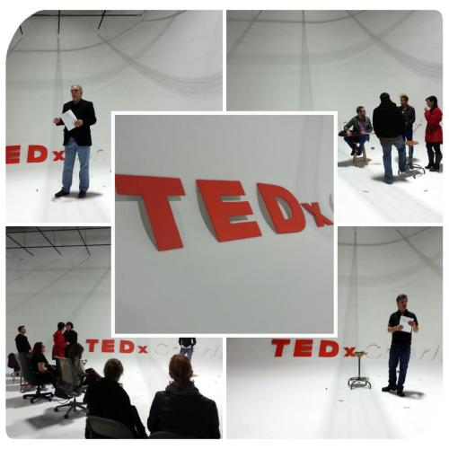 Photo spotlight: A photo collage of TEDxCharlotte rehearsals by Avant Garland Designs.