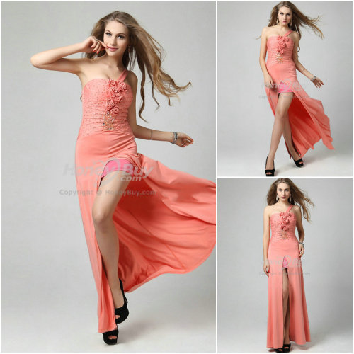 purelovefashion:  Handmade Flower Sheath Coral Prom Dress http://goo.gl/Sh0my
