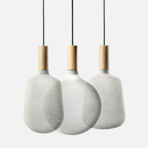 There's been a lot of hand-wringing over what actual purpose 3-D printing serves for the casual consumer. Here now, one application:Afilla pendant lights by Alessandro Zambelli for .exnovo which marries 3-D printed nylon shades with a Swiss-pine structure. Everyone loves a pendant light, amirite? (And not that it's the end product, but I've seen lots of 3-D prototyping used for modeling by designers from RBW to Aldo Bakker.)