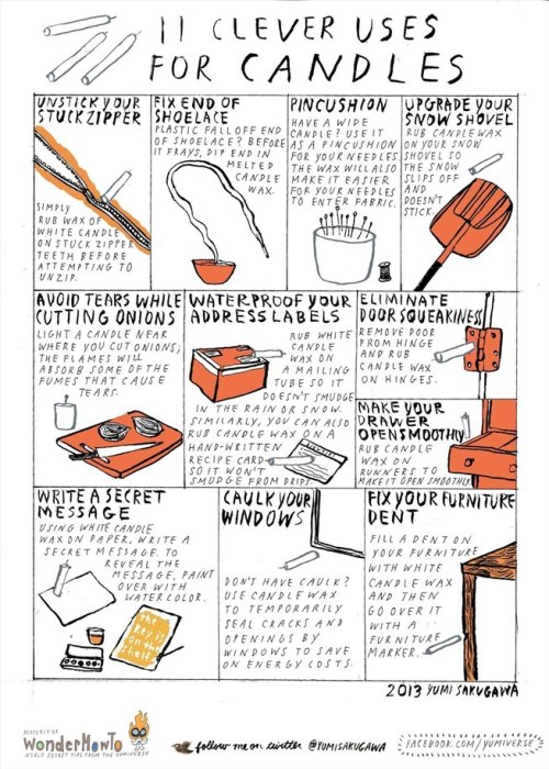 DIY 11 Uses for Candles Infographic by Yumi Sakugawa here.