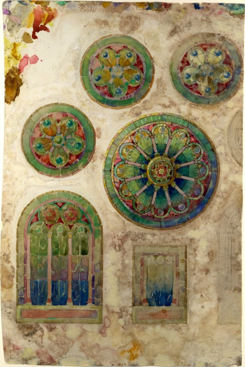 f-featherbrain:  Design for a rose window Louis Comfort Tiffany  (American, New York 1848–1933 New York) (via: the metropolitan museum of art)