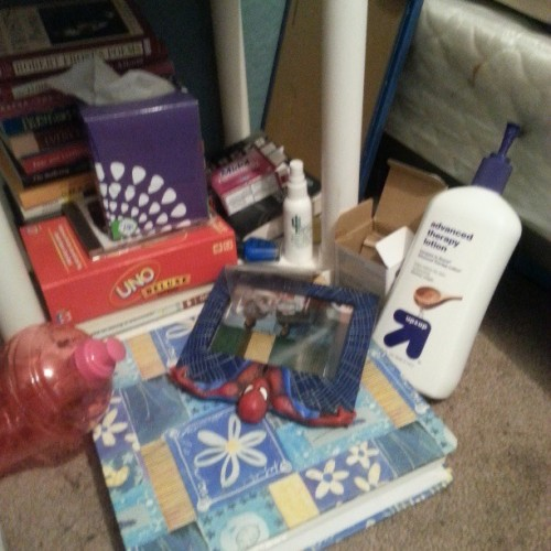 Couldn't help but to notice the therapy lotion, the box of tissues, the extended relief pills, and bottle of eye drops….Alyshia's Sundays are brutal lololol