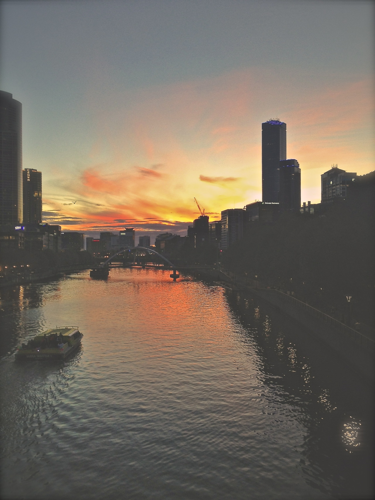 Sunset. From Flinders Bridge, Melbourne city.