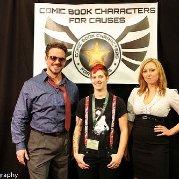 Tony Stark (Jason), me and Pepper Potts (Kristen) of Comic Book Characters For Causes on Friday at #eccc #cbc4c
