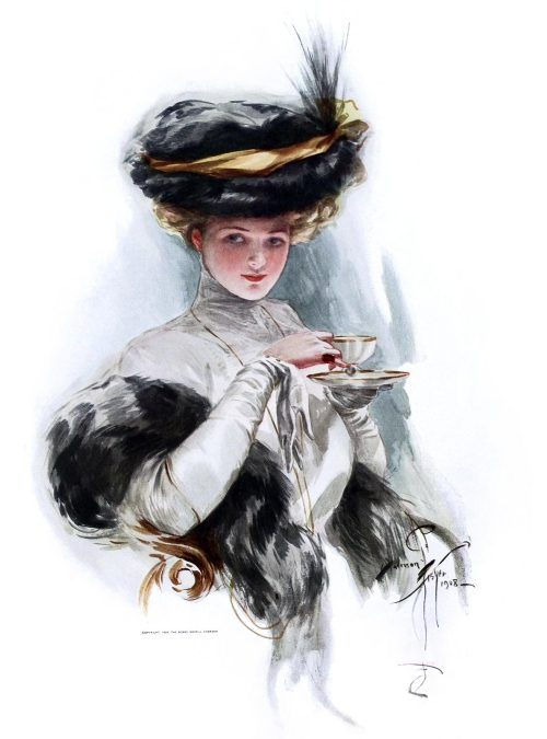 In teacup times.  Harrison Fisher,  from American beauties, Indianapolis, 1909.  (Source: archive.org)