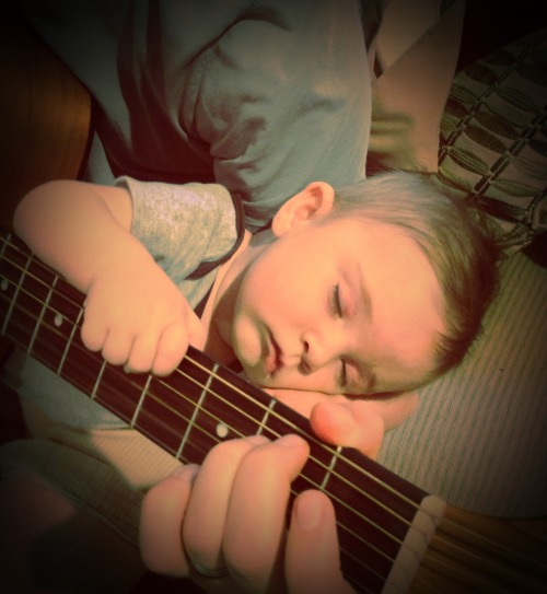 #Baby brother fell asleep during his #guitar lesson :)  ahhh soo cute