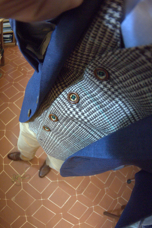My layers: WW Chan Jacket in Vintage FabricRing Jacket Odd Vest in TweedLiverano Shirt in Blue MicrostripeRing Jacket ChinosSpigola by Koji Suzuki Split Toe Derby in Pebble Grain