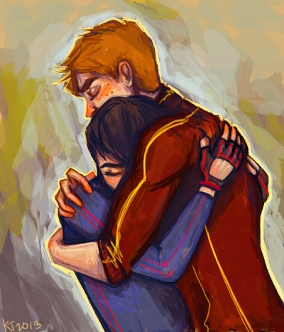 birdflash:  Crying Lightning by Ospreyghost13 (saccharine-heart @ tumblr):  Yeah, this is really overdue. I meant to make something Birdflash-y after Endgame came out, but I never got around to it. I don't know how old they are in this one…probably somewhere between season 1 and season 2, when Dick is transitioning between Robin and Nightwing and maybe he's nervous, so maybe he freaks out about it to Wally, and maybe Wally needs to comfort him because Dick's his best friend and he needs him, and Wally knows he hasn't really been there for Dick all the time lately, and he feels conflicted and guilty, and Dick is so stressed and nervous and lonely and asjdklf;jlgagjkfl;gj Ospreyghost13 @ deviantart