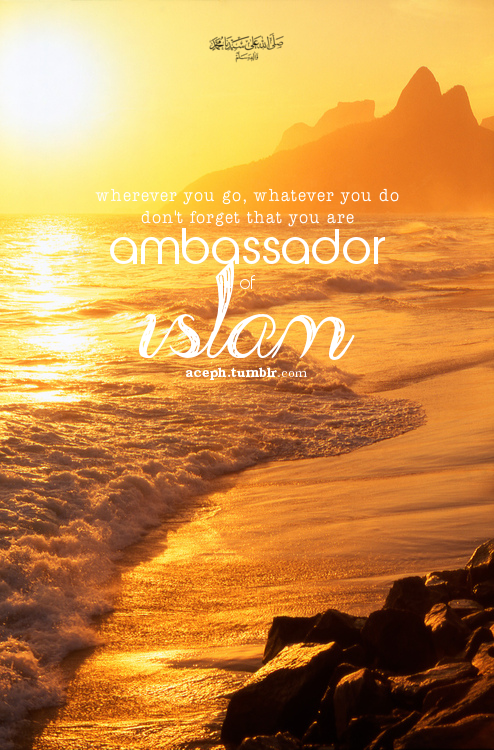 You're ambassador of Islam. More great Islamic Quotes. InshaAllah.