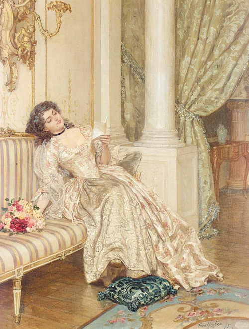 kittyinva:  monsieurleprince:  Talbot Hughes (1869 - 1942) - The letter, 1895  This is just plain pretty.