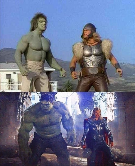 phoenix:  niknak79:  Hulk and Thor 34 years apart  TWENTY four!  Twenty four years!  Geez, don't make me feel so old…  And look how far we've come.