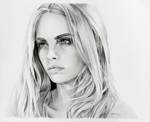 eatsleepdraw:  Pencil portrait of fashion model Cara Delevingne, by Clayton Swenson Artistry