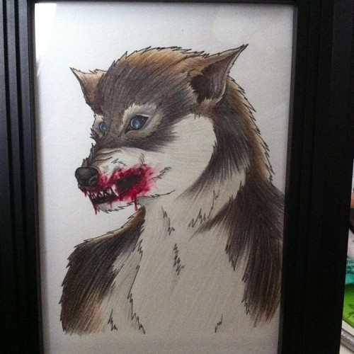 Werewolf finished and framed :)… #werewolf #pencils #illustration #blood