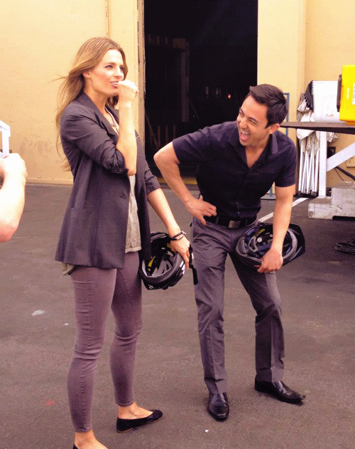 Fan:  What was she doing to make you laugh like that ? :) Tony:She was pretending to interview me! (x)