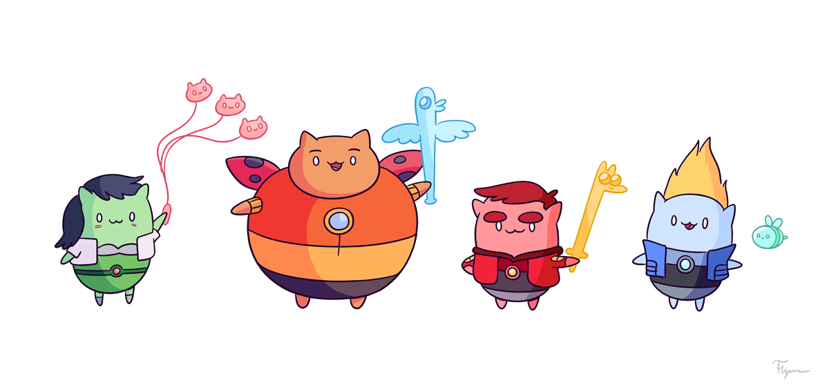 // Bravest Warriors as Catbugs // Having already designed 6-year-old versions of the Bravest Warriors for the show, the thought occurred to me, how could they get cuter? So, there you go. This is apparently what I do with my free time, folks.