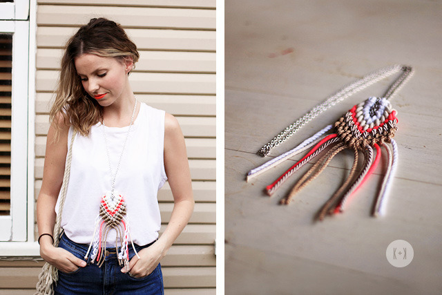 Roped Macrame Necklace | A Pair & A Spare I showed this DIY to my mum who said 'that's so 70's' but I still like it! Sometimes when all you feel like wearing is a tshirt and jeans, a big statement necklace is just the thing to make it special. Macrame is so easy to pick up too. If you want a smaller pendant, use smaller string. Just don't wear it with bell bottoms or you'll get looks from my mum!