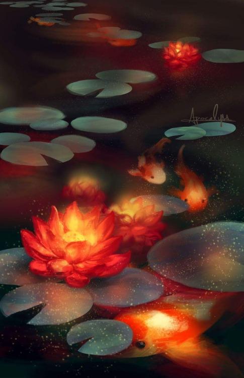 bioluminescence koi lotus flower fish artists on tumblr finished art