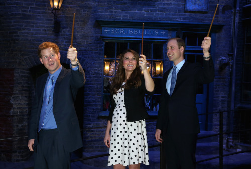 The young Royals spent some time at Warner Bros. Studios today, playing with Batman cars and Harry Potter wands. Now I'm even madder than my spells haven't been working. Or maybe they have — if that baby is born with horns, you'll know who to thank.