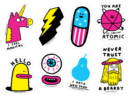 New! Stickers! Stickers! Die-cut, screenprinted, nice. 8 to a pack and free with any purchase from my shop.