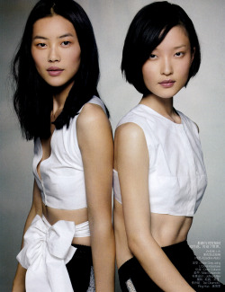 Liu Wen and Du Juan by Max Vadukul