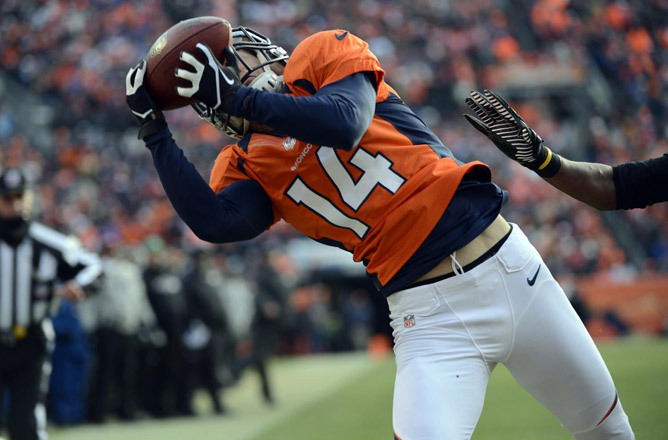 TOUCHDOWN Denver Broncos wide receiver Brandon Stokley pulls in the Broncos' second touchdown of the game in the first quarter. The Denver Broncos play the Baltimore Ravens in the AFC Divisional playoff game at Sports Authority Field at Mile High, Saturday, Jan. 12, 2013. (Photo by Hyoung Chang, The Denver Post) Follow the game with our live blog.