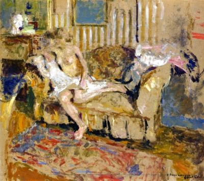 Nude in the Striped Salon Edouard Vuillard - circa 1905