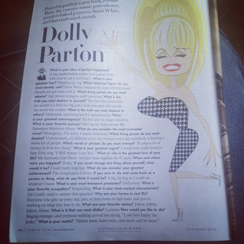 Had to post this just for the amazing caricature. Dolly, you're the best.