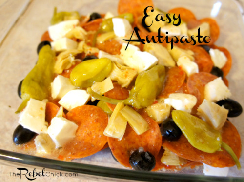 6 Ingredient Easy Antipasto Recipe via The Rebel Chick Ingredients 1 cup of Zesty Italian Dressing 10-20 peperoncinis 1 bag of Boar's Head Pepperoni (you can use any pepperoni but I prefer Boar's Head) 1 cup cubed mozzarella cheese (I use fresh mozzarella but you can use a regular brick of mozzarella too) 1 jar marinated artichokes 20 black olives  Directions Here's the thing: this is easy. Don't make it any harder than it has to be! I start by cutting the mozzarella into small cubes, you want about 1/2 inch in size. Then I quarter the marinated artichoke hearts. Everything else is used in its entirety. I use a casserole dish and layer pepperoni, cheese, olives and peperoncini, drizzle with the dressing, and then do another layer and drizzle with more dressing. You can use as many peperoncinis as you like to make it a little spicier if you like it spicy, or omit them all together if you don't like spice at all. You can even omit the artichoke hearts if you aren't a fan of them, but they do add a nice little twist to the dish! Just let it all marinate in the fridge for at least an hour and you're done! Enjoy!