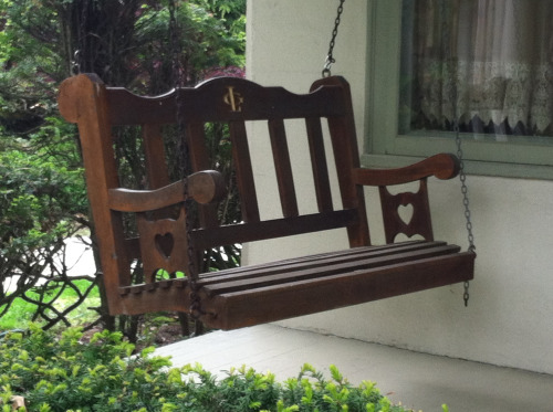 Hand Made Porch Swing, Reading Pa. I saw this while in reading last week and knew it was made with love. Though a bit top heavy, the design is excellent!