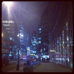 Hi to the Gherkin from Bishopsgate #london #night #street #building #light #skyscraper #spitalfields #city #street #road #financial #district #uk #england #bishopsgate #gherkin