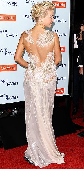 Better From The Back? Julianne Hough  We prefer the intricate back to Julianne's mermaid-inspired lace Alberta Ferretti number, but tell us which view you think is best here.