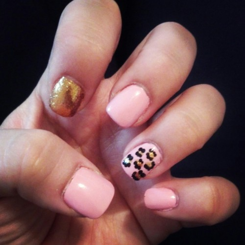 Cheetah, Gold and Pink nails