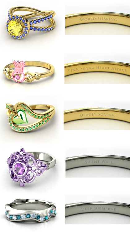 steelcandy:  Sailor Moon engagement rings! Part 2! Sailor UranusSailor Chibi-Moon Sailor PlutoSailor SaturnSailor Neptune (made on http://www.gemvara.com by steel candy) Part 1 here: