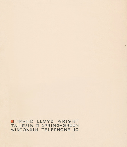 letterheady:  Frank Lloyd Wright, 1932 | Source