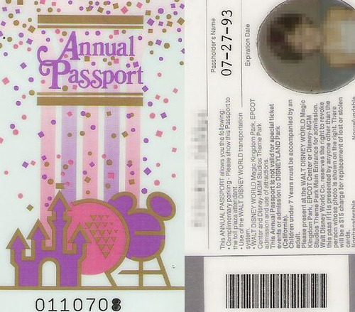 Disney World - Annual Passport - 1993 by Kristen Decker on Flickr.