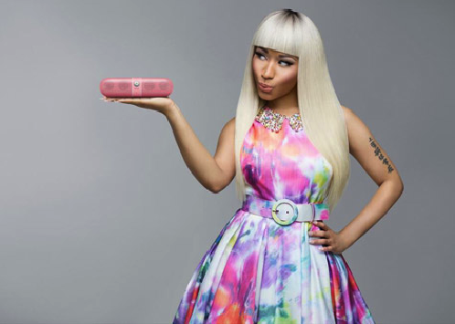 "Nicki Minaj is still racking up those endorsement deals. She's bringing her new #Prettygang look to Beats By Dre as the new spokesperson for the ""Pink Pill,"" a travel-sized speaker that plugs into your mobile device or Ipod (I need that!).  This will be one of many endorsement deals that Nicki has signed including Pepsi (which came to a halt when she signed on to Coco Cola-sponsored American Idol), MAC Cosmetics, and OPI.  On wanting to be more relatableI knew that I was about to start doing covers of magazines and I wanted a more relatable look. I knew that I was about to launch a clothing line and I want women to know that I'm just a regular woman and I'm not some weirded-out character all the time. I made that conscious effort to tone it down and to try new things. And when I started seeing what my hair looked like, I just fell in love. I was just like, 'oh my gosh where has this been all my life?' Because even my fans went crazy, I feel like the whole world went crazy. It felt like I took off this mask — it didn't feel like that to me — but to the world it's almost like, 'oh now we see the real her.' It was weird."" On her love scene with Lil Wayne in the ""High School"" music videoHe refused to touch me, he's so respectful. I was like, 'Wayne, you could do this.' But he was acting scared, like, 'Yo, Nick, this is my dream. I'm gonna be a man after this video.' He was just being crazy. But if I didn't tell him 'Yes, you can do this' or 'touch this,' he refused to do it. He's a southern gentlemen which people don't realize. On whether they kissedIf we actually locked lips, don't you think we would have put it in the video? Wayne said we had to kiss for the video. He was like, 'One thing that's going to sell it is if we really kiss.' I'm like, ehh. On how her new music video will help Lil Wayne become a sex symbolNot only is he my boss, but he's also like my brother. It's very weird because I'm just used to Wayne making fun of me, and all of Young Money boys making fun of me, so every time they yelled 'Cut!' I was just being picked on. But it's still like Wayne is still so sexy and so I texted Wayne and I was like, 'You're going to have all the chicks back on you,' know what I'm saying? Because when this video comes out, he looks like art, he looks like a piece of art all tatted up, all sexy, black and beautiful. On not getting the credit she deserves[With 'Pink Friday: Roman Reloaded'], I care less about the acceptance and more about me being the lyrical, ill bi**h that I am, knowing that I am lyrically better than most of the male rappers out there — yes, I'm gonna say it. I don't get the credit that I deserve.  via MTV"