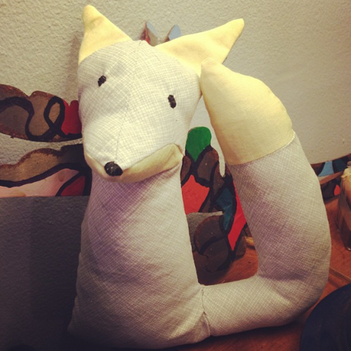 First attempt at sewing a stuffed animal Lessons learned: 1.) Sewing curves is not that difficult, but requires patience. 2.) Small things are way more difficult to sew than big things.  This was basically the prototype for a fox lamp I want to make. Hopefully the next one will come out much better!